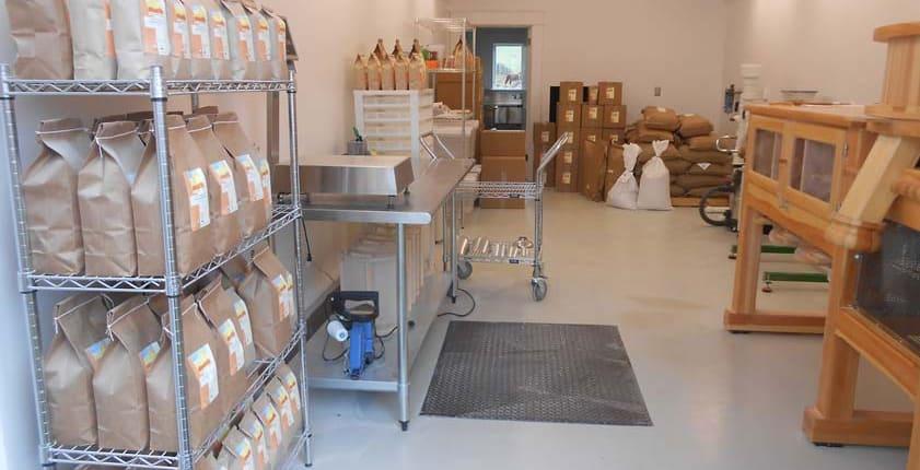 Mill room · Organic Stone Ground Flours · Weatherbury Farm